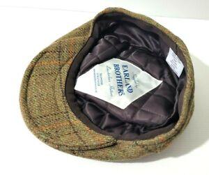 Vintage Wool Tweed Flat Cap 6 5/8 54cm Earland Br Leicestershire Hatters England