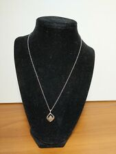 LOIS HILL Sterling Silver Chain W/cutout & Hammered Teardrop Scrollwork Pendant