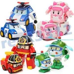 Robocar Toys POLI ROY AMBER Robot Transformers Action Figure Car Toy 6Pcs