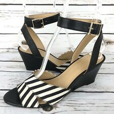 Talbots 7.5 Wedge Sandals Ankle Strap Striped Open Toe Black Leather Fabric