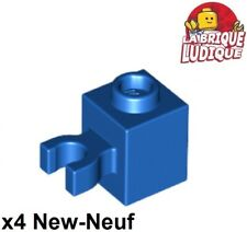 Lego - 4x Brique Brick Modified 1x1 Vertical O Clip bleu/blue 30241b NEUF