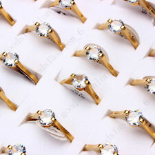 36pcs lots Stainless Steel Jewelry Zircon Girl's Women' sEngagement Rings