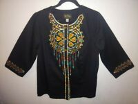 Bob Mackie Wearable Art Womens Size Medium Black 3/4 Sleeve Dream Catcher Design