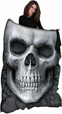 Spiral Direct SOLEMN SKULL, Fleece Blanket Allover Print Skulls Alternative Fash