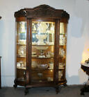 Antique Fancy Curved Glass Oak China Cabinet with carved Lion's and claw feet