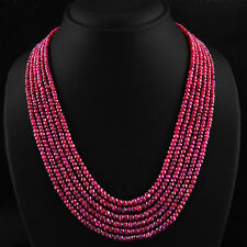 TOP SELLING 552.90 CTS NATURAL 6 STRAND RICH RED RUBY ROUND CUT BEADS NECKLACE
