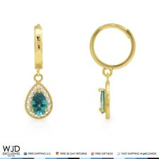 14k Yellow Gold Diamond & Blue Topaz Dangle Hoop Earrings