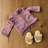 """American Girl Doll 18"""" Julie, Retired Meet Outfit, Striped Shirt, Shoes Sandals"""