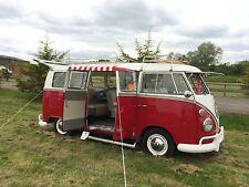 NLA Vintage Red Stripy Sun Canopy + Clamping strap VW Splits Cargo Doors C9503R