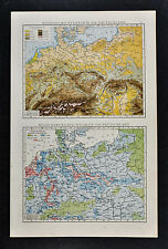 1887 Andrees Map - Germany Austria Poland Holland Population & Physical Relief