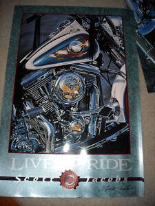 Live to Ride Poster, Scott Jacobs, signed, Harley Davidson