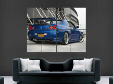 NISSAN R34 SKYLINE CAR POSTER FAST SPEED RACING SPORT WALL ART PRINT LARGE