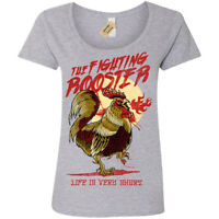 Funny Fighting Rooster T-Shirt Womens Ladies Scoop