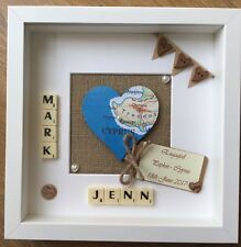 Personalised Heart Map scrabble tile frame wedding Engagement gift Home location
