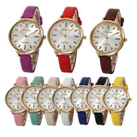 Fashion Women Casual Flower Dial Diamond Faux Leather Quartz Analog Wrist Watch