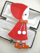 Delightful & Large Rust, Red & White Lucite & Diamante Little Girl Brooch/Pin