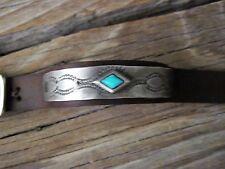 Supple Mens Leather & Robins Egg Turquoise Stone Cuff Bracelet