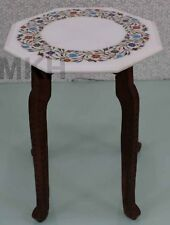 Marble Coffee Table Top Inlay Handmade Vintage End Tables Italian Style Mosaic
