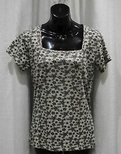M&Co FAWN/BLACK SQUARE NECK S/SLEEVE COTTON TOP SIZE 14