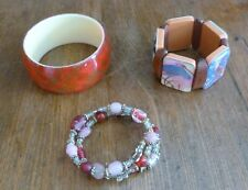 Lot of 3 Beaded Wrap BRACELET; Bird Pictures STRETCH; Orange & Brown BANGLE