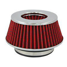 "Small Red Univeral Cone Intake Air Filter 2.625"" L x 6"" W Inlet 3"" 3.5"" Or 4"""