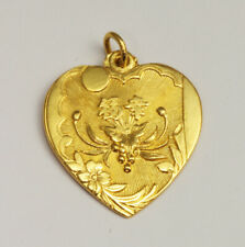 24K Solid Gold Blessed Sailboat Heart Pendant 5.4 Grams