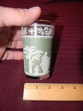 """1 3.75"""" Tall Hellenic Greek Motif Frosted Green White Vintage Glass Gold Rim NEW"""