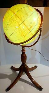 "Vintage Illuminated World Globe On Stand 16"" Cram's"