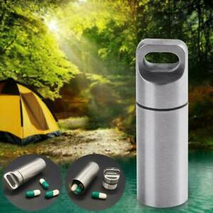 EDC Stainless Steel Waterproof Medicine Pill Case Bottle Holder Capsule Keychain
