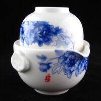 Blue and White Porcelain Peony Gaiwan Teapot Quick Gongfu Tea Cup 150ML