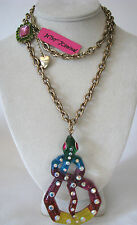BETSEY JOHNSON RIO CRYSTAL RAINBOW LUCITE WRAP SNAKE PENDANT NECKLACE~NWT~RARE