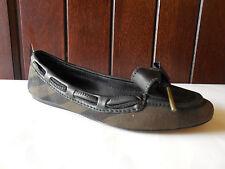 Sz.6   Burberry ORIEL Bow Front  House Check Black Leather  Ballet Flats