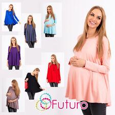 Womens Maternity Loose Mini Dress Scoop Neck Pregnancy Top Tunic Sizes 8-18 8538