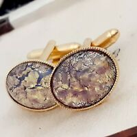 Vintage 1950s Purple & Gold Flake Glass Fire Opal - Oval Gold Plated Cufflinks