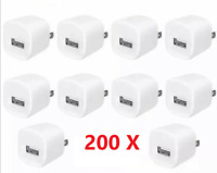 200x White 1A USB Power Adapter AC Home Wall Charger Plug FOR iPhone 5 6 7 8 X