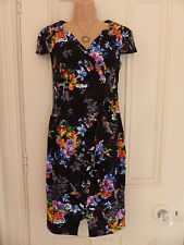 BNWT Joe Browns UK10 black dress colourful floral pattern ruffle 3D flower