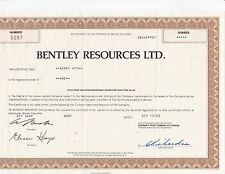 Bentley Resources Ltd share certificate (1985)