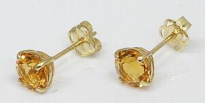 9CT Yellow Gold November Birthstone Stud Earrings Citrine Effect (06.15.065)