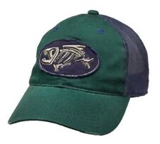 G Loomis Distressed Oval Hat Cap Green w/ Navy Mesh Back & Fish Bone Logo OSFM