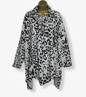 ITALIAN Tunic Top Stretchy Lagenlook Grey Black Womens Plus Size 16 18 20 22 24