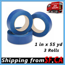 """3 Rolls Blue Painters Tape Clean Release Trim Edge Finishing Masking 1""""x55 Yards"""
