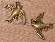 30pcs Tibetan Silver bronze Pigeon Dove Bird of Peace Charms Connectors 21x17mm