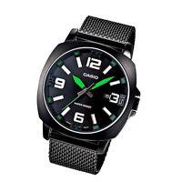 Casio MTP1350BD-1A2 Mens Black Stainless Steel Mesh Band Modern Dress Watch NEW