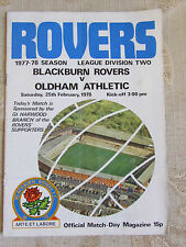 The Official Match Day - Magazine Of Blackburn Rovers & Oldham Athletic 1978