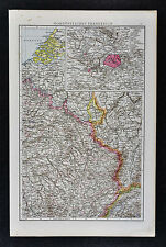1887 Andrees Map - NW France Belgium Luxemburg Germany Ardennes - Paris Plan