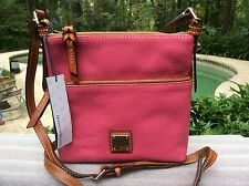 NWT DOONEY & BOURKE LETTER CARRIER HOT PINK PEBBLED LEATHER CROSSBODY BAG