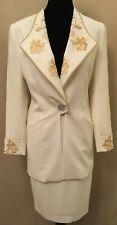 Criscione Womens Suit Sz XS Ivory 3 Piece Jacket Top Skirt Embellished Vintage