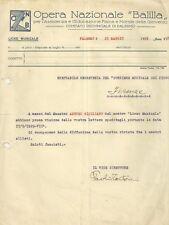 Opera Nazionale Balilla di Palermo - Lettera del Liceo Musicale di Palermo 1929