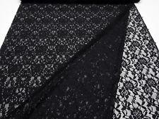 Stoff Spitze Spitzenstoff mit Blumenmuster Rosen geblümt schwarz Kleiderstoff