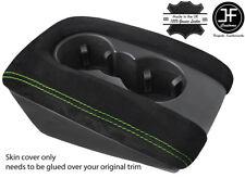 Green Stitch DOPPIA COPPA Bracciolo Coperchio Pelle scamosciata reale solo copertura si adatta AUDI Q7 07-15
